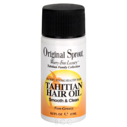 Original Sprout Tahitian Hair Oil 0.5 oz Smoothing & Strengthening Hair Oil. A worry-free and vegan formula containing no PhytoEstrogens, Original Sprout Tahitian Hair Oil smoothes, strengthens and adds shine to the hair and moisture to skin without containing harmful or questionable ingredients. Tropical botanical extracts of Coconut, Pineapple and Gardenia are combined with Rosemary, Apricot, Linseed, Apple and Vanilla to moisturize and soften while protecting hair color from fading.