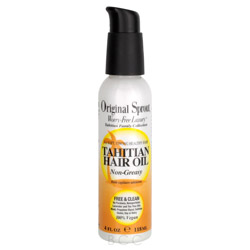 Original Sprout Tahitian Hair Oil 4 oz Smoothing & Strengthening Hair Oil. A worry-free and vegan formula containing no PhytoEstrogens, Original Sprout Tahitian Hair Oil smoothes, strengthens and adds shine to the hair and moisture to skin without containing harmful or questionable ingredients. Tropical botanical extracts of Coconut, Pineapple and Gardenia are combined with Rosemary, Apricot, Linseed, Apple and Vanilla to moisturize and soften while protecting hair color from fading.