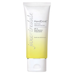 Jane Iredale HandDrink Hand Cream SPF 15 Lemongrass Jane Iredale's Hand Drink will indulge your hands with a decadent blend of botanical extracts while it helps with evening out skin tone.  Protects against future UV damage to keep your skin healthy and happy. Hands will be left feeling like silk and moisturized.