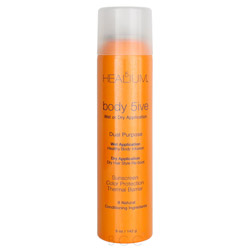 Healium 5 Body 5ive Sunscreen Thermal Barrier 5 oz Style your hair with the Body 5ive Sunscreen Thermal Barrier. The ultimate dual purpose blow dry mist that adds healthy body and shine to your hair while protecting hair from harmful blow dryer heat and sun damaging effects. Infused with natural botanicals to condition hair to bring it back to a healthy state.