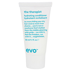Evo The Therapist Hydrating Conditioner Travel Size No more hiding your frizzy hair and no more inner shame....you're now a racehorse that's bolted from the stables gleaming with pride....run with it, feel the freedom, run with it....neighhhhhhhh.