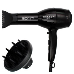 Salon Tech 2800 Featherlight Dryer Black Speed up dry time! Salon Tech 2800 Featherlight is an ultra light weight dryer. urbo DC motor. 1875 Watts. Ion indicator. Diffuser and concentrator included. Cool shot button lock. Prevents frizz and static.