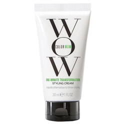 Color Wow One-Minute Transformation - Styling Cream Travel Size Take your hair from bedhead to beautifully styled with the One Minute Transformation Styling Cream. This cream helps to smooth out unruly, frizzy hair to get a nice polished look without weighing it down or making it greasy. If you want a more professional styled look, pair it up with a round brush and blow dryer.
