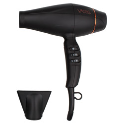 VARIS Dryer SB2 2 piece Create desired styles quickly and efficiently with this hair dryer. A hair dryer designed with a powerful air flow of 2000 watts and a lightweight, brush-less motor to give you high-performance and salon results. Has 6 customizable air speeds and heat settings and features an on/off cool shot switch. Great for blow drying all hair types and lengths.