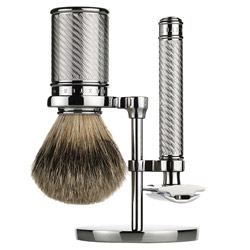 Add a special addition to your bathroom counter with the Safety Razor Set. This magnificent duo helps to achieve only the cleanest and closest shave you could possibly get. Its Silver Tip Badger Brush creates a rich lather, lifting up facial hair, prepping it for the shave. The Double-Edge Safety Razor glides smoothly, trimming and cutting your facial hair. Handles are made of brass and nickel-plated, finished with a manly chrome look.