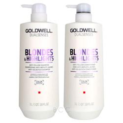 Goldwell Dualsenses Blondes & Highlights Liter Shampoo/Conditioner Set  2 piece