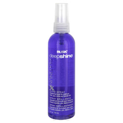 Rusk Deepshine Platinum X Shine Spray 4 oz Get your hair to shine with radiance with the Deepshine Platinum X Shine Spray. A luminous shine spray that brightens platinum, silver, gray or blonde hair, leaving the hair with a glossy finish. Neutralizes unwanted yellow and brassy tones to make sure hair is looking bright and stunning. Pairs well with heat styling appliances.