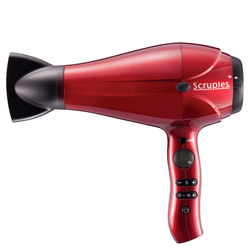 Scruples Integrity Tools Blow Dryer 1 piece Beat the heat with this blow dryer. A blow dryer designed with thermal technology to help reduce color fade caused by heat. Quickly dries hair with ceramic and infrared heat technology for frizz prevention and shine enhancement. Features a color preserve indicator, prompting you to set the blow dryer at a lower temperature to further protect hair color and reduce heat damage. Lightweight, designed with titanium-infused ceramic and has an 11 ft. cord for easy in-salon and at home use.
