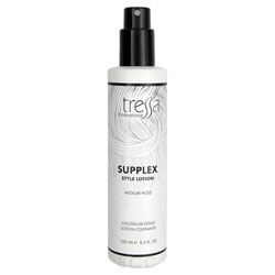 Tressa Supplex - Styling Lotion 8.5 oz Protect and style your hair with Tressa's Supplex Styling Lotion. This spray-on styling tool protects while it holds. The secret is a special moisturizing ingredient that works to prevent damage from blow-dryers and hot rollers so hair looks shiny and healthy.