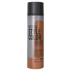 KMS Style Color Spray on Color Rusty Copper Experiment color without the commitment with the Style Color Spray On Color. A waterproof color spray that delivers rich color pigment onto the hair. Builds an ultra-thin film of color to give your hair mobility and flexibility without the crunch. Gives you the ability to work with color without having to go all in. Works perfectly with hot tools and is pillow-friendly.
