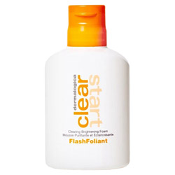 Dermalogica Clear Start FlashFoliant 3.4 oz This chemical leave-on exfoliant foams up in you hands, ready to apply to help clear the breakout and brighten your skin.  Make with salicylic acid, grape extract and tangerine peel extract, it will help keep an even skin tone.  Gluten, paraben and free of artificial fragrance and colors.