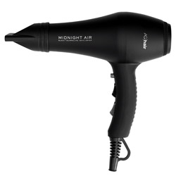AG Hair Midnight Air Black Tourmaline Ionic Dryer 1 piece Blow dry in style with this ionic hair dryer. A sleek, midnight black tourmaline ionic speed dryer that has high airflow to drastically reduce drying time. Has high heat up to 250 degrees and is super light-weight and quiet. Its matte black tourmaline and ceramic technology give off negative ion charges to leave your hair with a smoother, healthier finish.