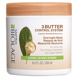 Matrix Biolage 3 Butter Control System Overnight Mask 8.4 oz Make managing unruly hair easier with the Biolage 3 Butter Control System Overnight Mask. This ultra-hydrating mask controls your hair's volume and improves its manageability every night, making styling easier in the morning. Residue-free so it will not transfer product onto your pillow.