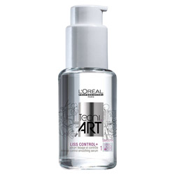 Loreal Professionnel Tecni.Art Liss Control+ Intense Control Smoothing Serum 1.7 oz Finish off every hairstyle with a sleek and smooth look with this smoothing serum. A lightweight serum that controls unwanted volume and smooths out frizz for a frizz-free finish. Works great as a blow-dryer primer and is small enough to carry on the go for quick touch-ups. Has a level 1 out of 6 hold.