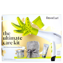 DevaCurl Dry Like A Deva - The Ultimate Care Kit 1 kit Negative Ion Dryer and Curl Enhancing Diffuser. Using ion generating technology the DevaDryer delivers 6 times more negative ions to the hair.  Specifically designed for curly and wavy hair the Deva Dryer boasts 3 temperature settings and 2 motor speeds. Includes 2 concentrator nozzles. Lightweight at 17 oz. and under 7 inches long. Unique ergonomic design. Ionic technology guarantees softer, shinier, frizz-free curls. The innovative hand-shaped DevaFuser delivers 360-degree airflow to completely dry your curls.